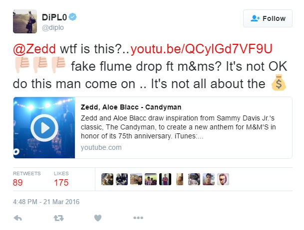 diplo calls out zedd