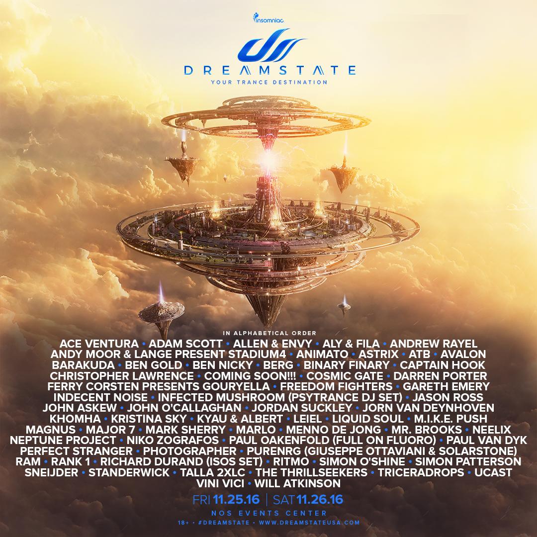 Dreamstate SoCal 2016 Full Lineup